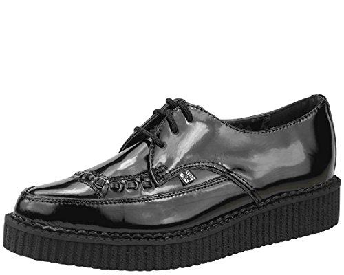 T.U. K.-Noir verni Chaussures en cuir à lacets Bout pointu Creeper