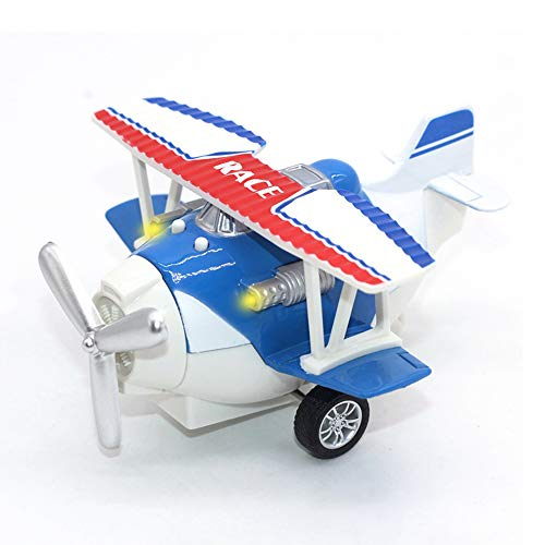 (Joyfun Airplane Toys for Boys 3+ Year Old Die-cast Toy Plane Pull-Back Toy Vehicles Cake Topper Aircraft with Lights & Sounds Kids Christmas Birthday Gifts JF-Plane Blue)
