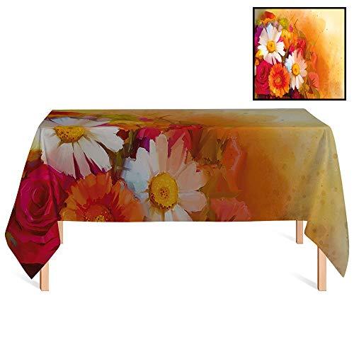 SATVSHOP Rectangular Tablecloth /55x102 Rectangular,Floral Vivid Flower Bouquet with Roses Daisy Gerbera Blossoms Flourishing Artwork Orange Magenta White.for Wedding/Banquet/Restaurant.
