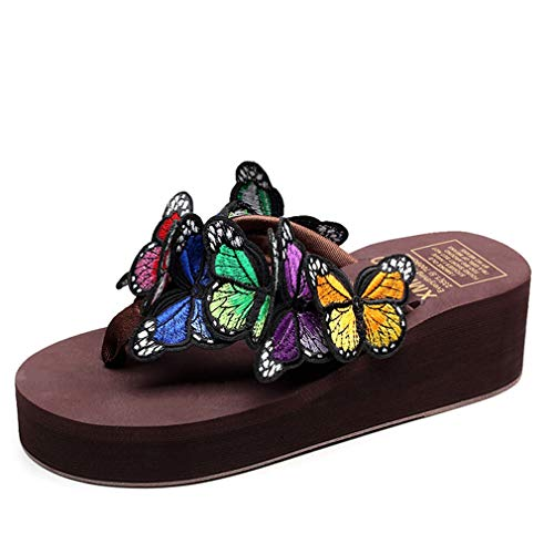 Ckrola Women Butterfly Platform Flip Flops Bohemia Summer Beach Thick Bottom Anti-Slip Thong Wedge Sandals Brown