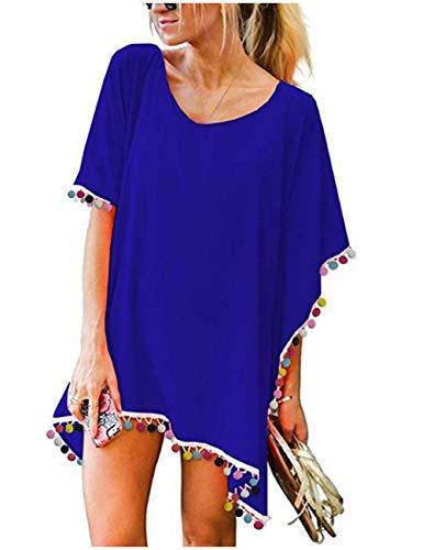 Sun Coverups for Women Stylish Pom Beach Chiffon Kaftan Dress(Colorful Denim Blue)