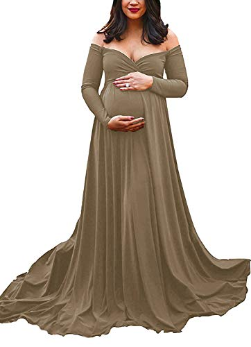 Saslax Maternity Off Shoulders Long Sleeve Half Circle Gown for Baby Shower Photo Props Dress Khaki M]()