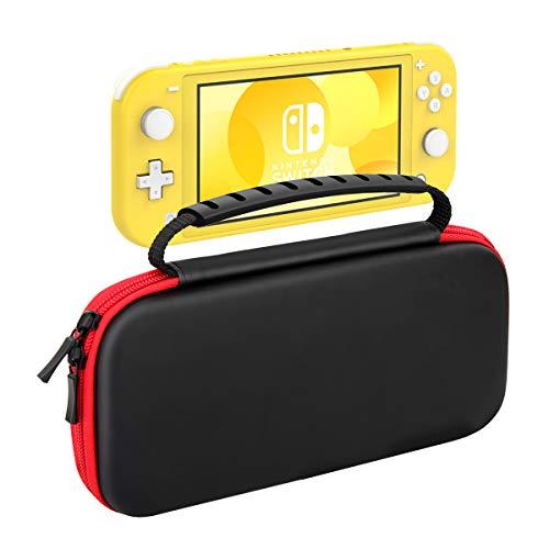 MoKo Carrying Case for Nintendo Switch Lite, Travel Case Hard Shell EVA Tough Storage Bag Holder for Nintendo Switch Lite Console, Accessories & Game Cards - Black & Red