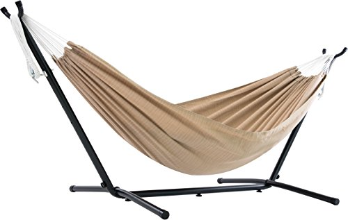 Vivere  Double Sunbrella Hammock with Space Saving Steel Stand, Sand (450 lb Capacity - Premium Carry Bag Included) ()