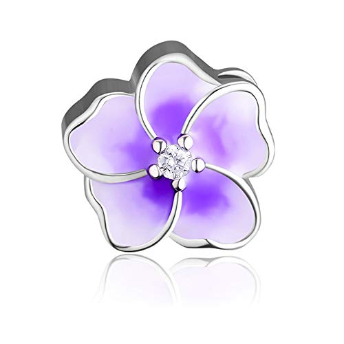 Charm Pandora Fits Bracelet (CKK Fit for Pandora Charms Bracelet 925 Sterling Silver Jewelry Plumeria Flower Bead with Purple Color and Polishing Cloth Pouch.)