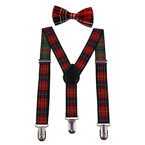 GUCHOL Baby Kids Suspenders and Bow Tie Set plaid for Boys and Girls Adjustable Suspender up to 26 Inches(Red Stripe)