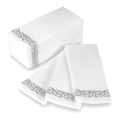Disposable Hand Towels and Decorative Bathroom Napkins with Floral Trim Perfect for Holidays, Dinners, Parties, Weddings, Catering Events, and Everyday Use, 100 Count, Silver