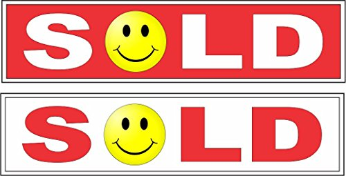 2 - 6x24 SOLD SMILEY FACE Real Estate Rider Signs 1 RED 1 White
