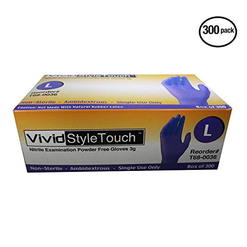 VIVID StyleTouch Purple Nitrile Latex Non Sterile Gloves – for Home, Medical, Professional Use – Disposable – Food Safe, Rubber Free – 2.7 mil, Pack of 300 (Large), StyleTouch by Vivid (Image #1)