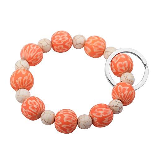 SEIRAA Wrist Keychain Bracelet Elastic Functional Beaded Bracelet Handsfree Keychain Gift for Women (Orange) ()