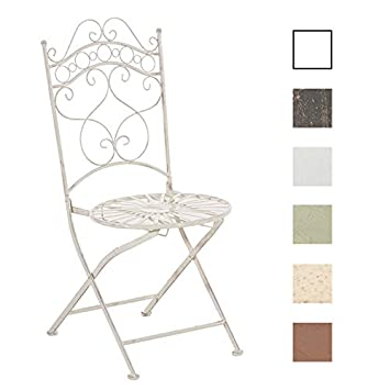 CLP Silla de Jardín Plegable Indra I Silla Plegable en Hierro I Silla de Exterior en Estilo Rústico I Color: Crema Antiguo