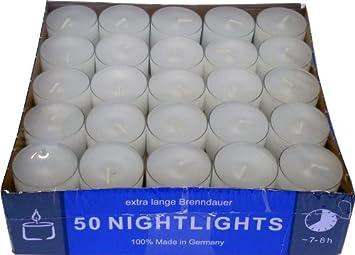 bianco 2 durata di combustione:circa 8 ore. confezione Lumini da t/è confezione trasparente da 50 Nightlights