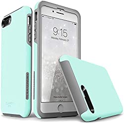 """TEAM LUXURY iPhone 7 Plus case/iPhone 8 Plus case, [Clarity Series] Updated [G-II] Ultra Defender TPU + PC Shock Absorbent Protective Case - for Apple iPhone 7 Plus & 8 Plus 5.5"""" (Soft Mint/Gray)"""