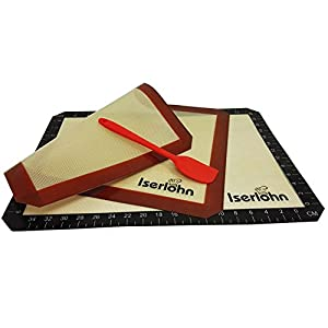 Iserlohn Non Stick Silicone Baking Mat (2 Pack) 16.5x11.6 Inch, with Heat Resistant Silicone Spatula, Reusable Cookie Baking Sheet, Fit for US Half Sheet Size