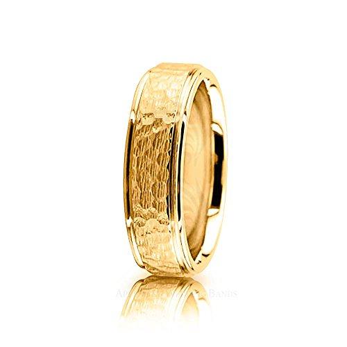 Genuine 10K Yellow Gold Polished Hammered Designer Wedding Ring 6 mm