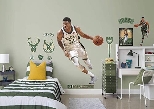 FATHEAD Fathead NBA Milwaukee Bucks Giannis Antetokounmpo - Life-Size Officially Licensed NBA Removable Wall Decal, Multicolor (Renewed)