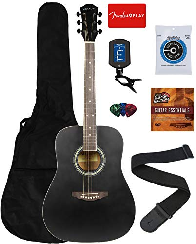 Vault 41-Inch Dreadnought Acoustic Guitar – Black Bundle with Gig Bag, Tuner, String, Picks, Strap, and Instructional DVD