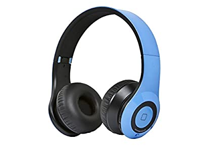 Monoprice Bluetooth On-the-Ear Headphones with Built-in Microphone-Blue
