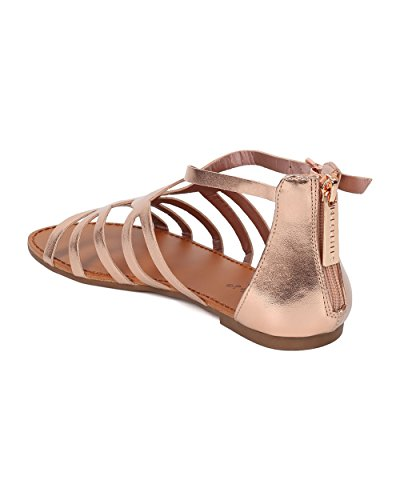 Rose Sandal Metallic Breckelles Versatile Casual Strappy Collection Gold Women HB10 Summer Everyday Flat by Alrisco Sandal Gladiator Sandal BWTZqntw