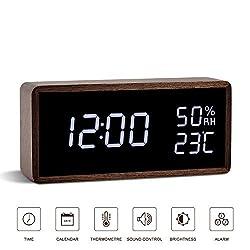 FiBiSonic Alarm Clock, Wood Digital Clock with Adjustable Brightness Voice Control Large Display