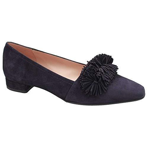Low Suede Fringe Heel Shoes Court Front Perlato Navy dpOqzd