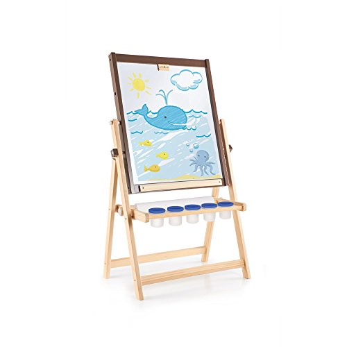 Floor Easel Guidecraft - Guidecraft 4-in-1 Flipping Floor Easel - Magnetic Whiteboard, Chalkboard, Paint Cups, and Paper Roller: Toddlers Classroom, School Supply Art Furniture for Kids