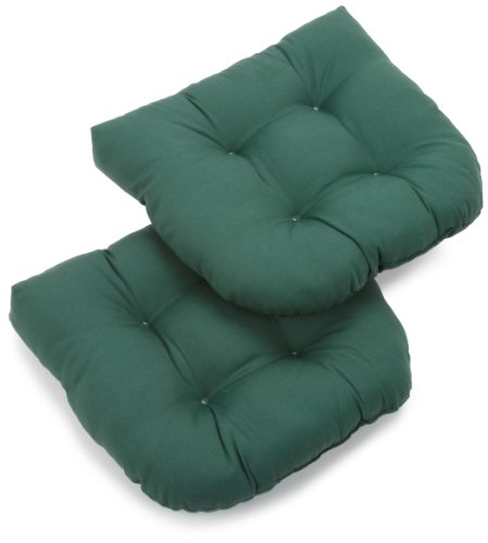 Blazing Needles Twill 19-Inch by 19-Inch by 5-Inch U-Shaped Cushions, Forest Green, Set of -