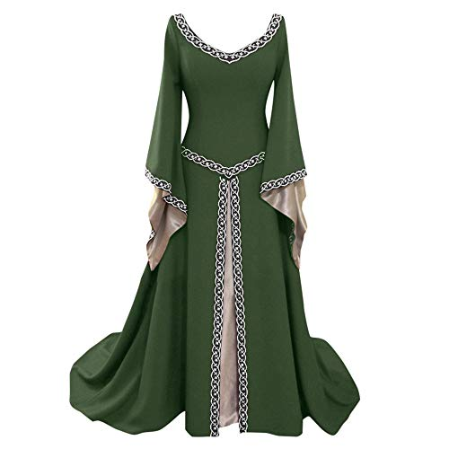 Caopixx Dress for Women Elegant 1950s Vintage Long Sleeve Medieval Dress Floor Length Cosplay Costume Princess Dress -