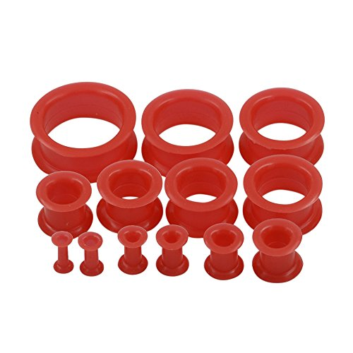 "Qmcandy 26pcs 8G-1"" Red Thick Silicone Double Flared Hollow Flexible Ear Tunnels Kit Ear Stretching Set (13 Pairs)"