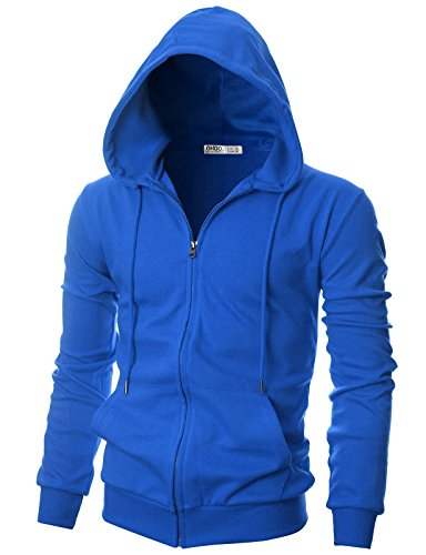 - OHOO Mens Slim Fit Long Sleeve Lightweight One-Tone Zip-up Hoodie with Kanga Pocket/DCF136-BLUE-XL