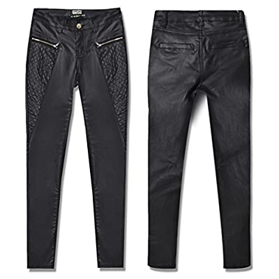 Crazy Women's High Waist Skinny Fit Faux Leather Biker Pants Slim Trousers-38 at Women's Clothing store