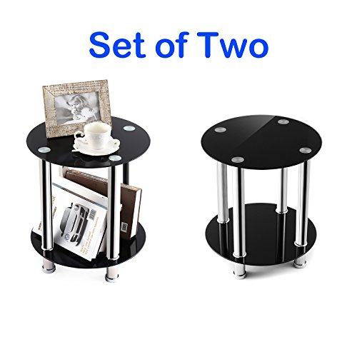 TAVR End Table,Sofa Table,Night Table,Coffee Table,with Safty Tempered Glass Shelves,Set of 2, Round ET1001x2 (Glass Sofa Round)