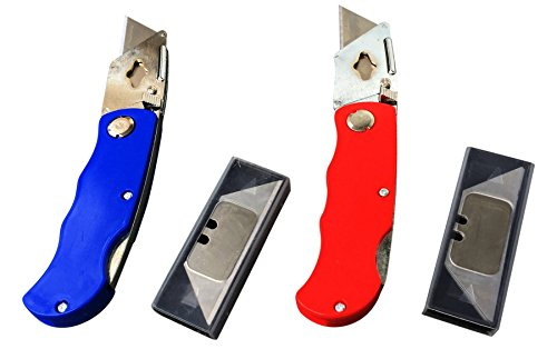 Utility Knife - Box Cutter - Sharp & Safe with Folding Lock and Pocket/Belt Clip plus Quick Easy Blade Change & Extra Blades. Includes 2 Knives & 2 Extra Blade Packs as shown. (Baghdad Box Cutter compare prices)
