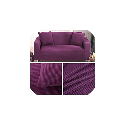 - fantasticlife06 Sofa Covers for Living Room Solid Sectional Sofa Cover Elastic Couch Cover Home Decor Sofa Slipover, Purple,3 Seaters Cover