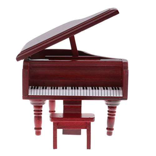 Baoblaze Miniature Rosewood Grand Piano Toy for 1:12 Dollhouse Accessories Collection