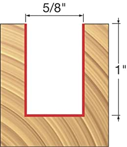 Freud 12-136 5/8-Inch Diameter by 1-Inch Double Flute Straight Router Bit with 1/2-Inch Shank