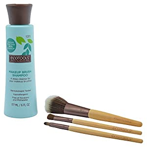 Ecotools Cruelty Free and Eco Friendly Makeup Brush Cleansing Shampoo, 6 Ounce; Wash Away Surface Makeup, Oil, and Impurities from Brushes