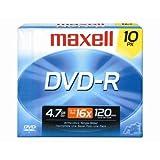 Maxell 10-Pack 4.7GB 16X DVDR 638004