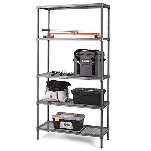 TANGKULA Storage Shelves 5 Tier Space-Saving Storage Rack Heavy Duty Metal Shelf Organizer High Weight Capacity Multi-Use Shelving Unit for Home Office Dormitory Garage (72