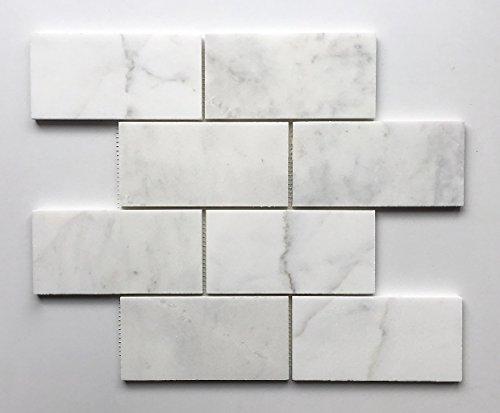 White Carrara 3x6 Polished Marble Tile Backsplash Wall (Polished Floor Tiles)