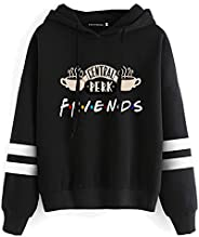 ZZhong picidae Women's Friends Graphic Hoodie Striped Sleeves Pullover Sweats