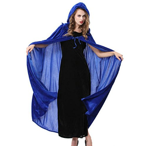 NEW! Hooded Cloak Adult Medieval Renaissance Halloween Fancy Dress Costume (Blue) (Pop Art Halloween Costume Couple)