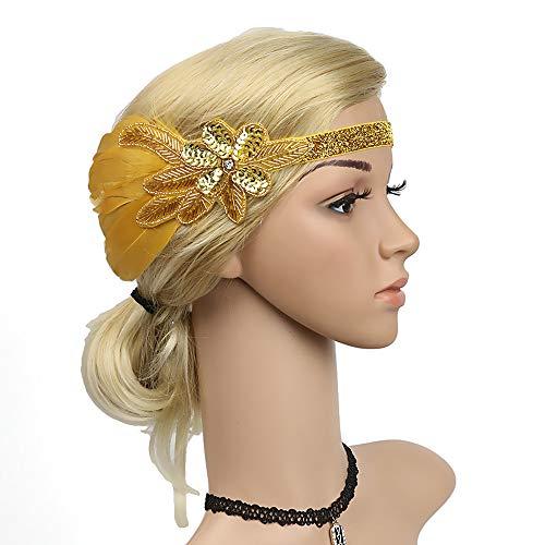 4915d0f0ef6a0e Vintage 1920s Flapper Headband Roaring 20s Great Gatsby Headpiece with  Feather Art Deco Roaring 20s Headband (Golden)