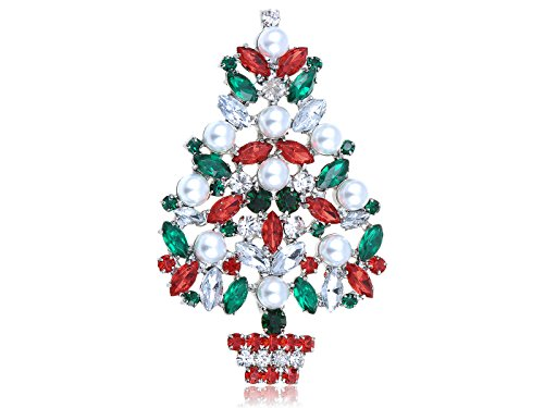 Crystal Rhinestone Christmas Tree Pin - Alilang Silver Tone Faux Pearl Red Green Crystal Rhinestone Winter Holiday Christmas Tree Brooch Pin