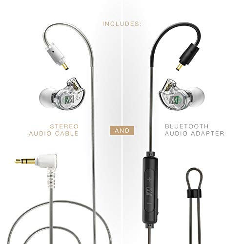 MEE audio M6 PRO 2nd Generation Musicians' in-Ear Monitors Wired + Wireless Combo Pack: Includes Stereo Audio Cable and Bluetooth Audio Adapter (Clear)