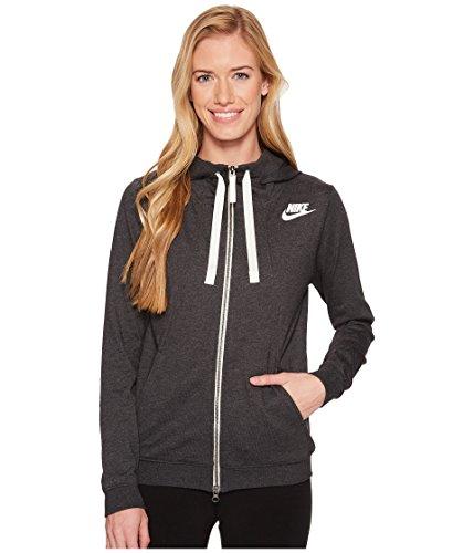 NIKE Womens Gym Classic Full Zip Hooded Sweatshirt Black Heather/Sail 924081-032 Size X-Small
