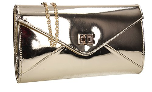 Briana Metallic Patent Leather Envelope Smart Womens Party Prom Wedding Ladies Clutch Bag - Gold