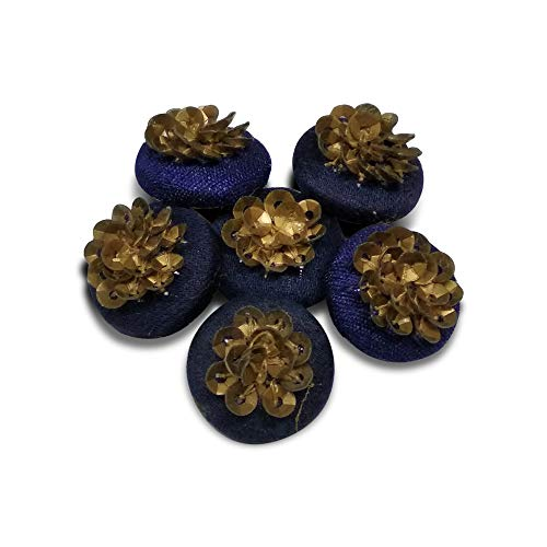 Jacknjewel designer button for ladies suits, kurta & kurti's using sequence (Blue color pack of 4 pieces)
