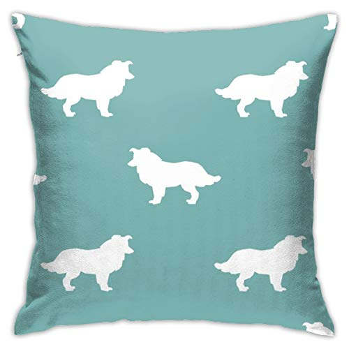 Lalae-ltd Border Collie Silhouette Gulf Cushion Pillow Case Square Cushion Cover 18x18 Inch for Sofa,Bedroom, Home Decor