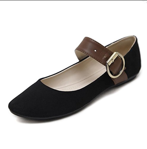 Flat Shoes Korean The Beans Black Soy Base Single Light Working Of And Mother With Versatile Round KHSKX 37 A Female Shoes Version Expectant The New Summer For Slotted Head EUO7wq1P